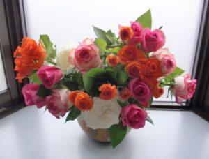 患者さんからバラの花束を頂きました